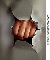 crear, papel roto, puño, perforación, agujero, thru