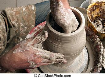 crear, tarro, alfarero, manos, de barro, círculo