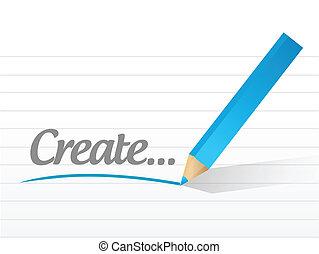 creare, messaggio, illustrazione