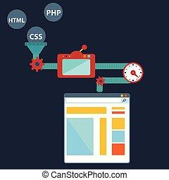 creare, processo, -, codificazione, illustrazione, luogo., vettore, disegno, programming., programmazione