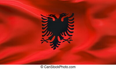 Creased ALBANIA flag in wind - Highly detailed texture with...