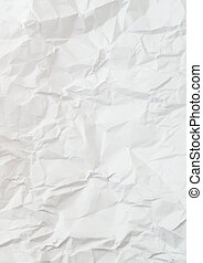 Creased and wrinkled crumpled white paper background