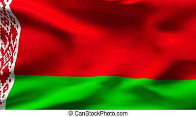 Creased BELARUS flag in wind