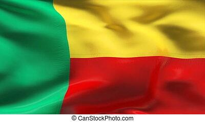 Creased BENIN flag in wind