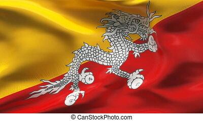 Creased BUTAN flag in wind