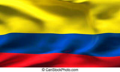 Creased COLOMBIA flag in wind - Highly detiled flag with...
