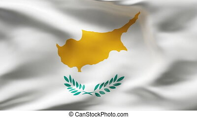 Creased CYPRUS satin flag in wind - Highly detailed texture...