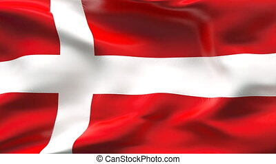Creased DENMARK satin flag in wind - Highly detailed texture...
