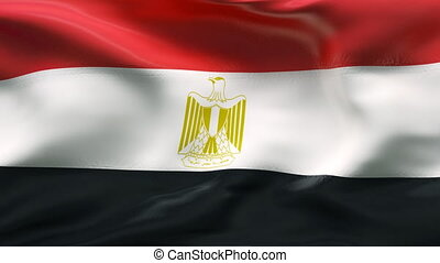 Creased EGYPT flag in wind - HIGHLY DETAILED FLAG WITH...