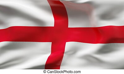 Creased ENGLAND flag in wind - slow - HIGHLY DETAILED FLAG...