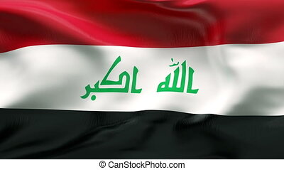 Creased IRAQ flag in wind - Flag with wrinkles and seams