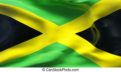 Creased JAMAICA flag in wind