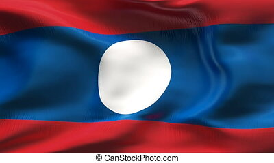 Creased LAOS flag in wind - Highly detailed flag with...