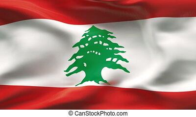 Creased LEBANON flag in wind