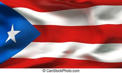 Creased PORTORICO flag in wind