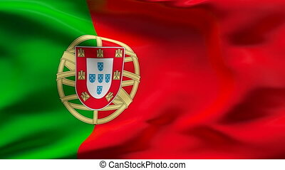 Creased PORTUGAL satin flag in wind - Highly detailed ...