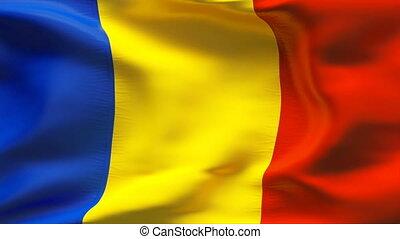 Creased ROMANIA flag in wind
