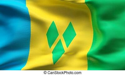 Creased SAINT VINCENT flag in wind