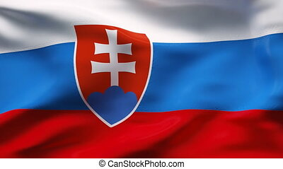 Creased SLOVAKIA satin flag in wind - Highly detailed...