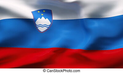Creased SLOVENIA satin flag in wind - Highly detailed ...