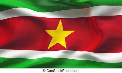 Creased SURINAM flag in wind