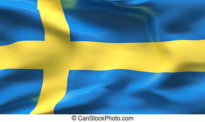 Creased SWEDEN satin flag in wind - Highly detailed texture...
