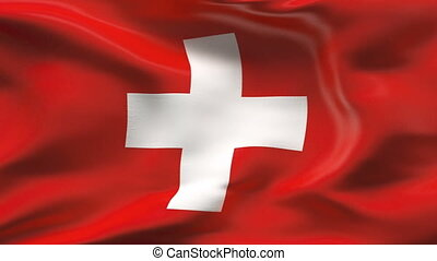 Creased SWISS flag in wind - Highly detailed flag with...
