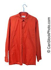 Creased the orange shirt on a hanger