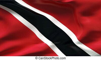 Creased TRINIDAD flag in wind