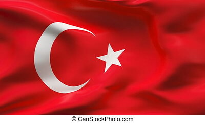 Creased TURKEY satin flag in wind - Highly detailed texture...