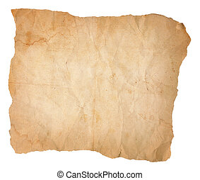 Creased, Wrinkled and Stained Old Paper with Torn Edges