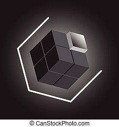 Create 3D cube design element on black background