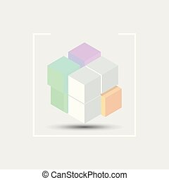 Create 3D cube design element on grey background