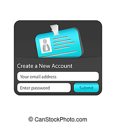 Create a new account form with light blue ID card. Element...