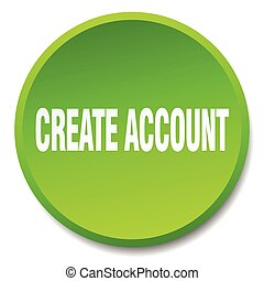 create account green round flat isolated push button