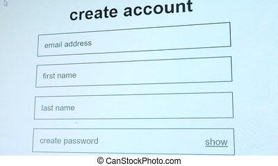 Create account online form shot clip