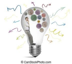 Create an idea - Businessman thinking about a new creative...