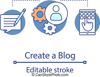Create blog concept icon