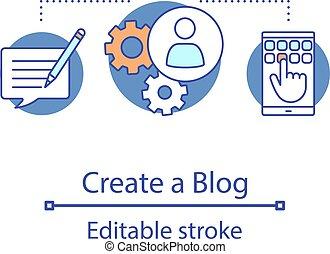 Create blog concept icon