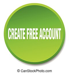 create free account green round flat isolated push button