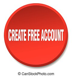 create free account red round flat isolated push button