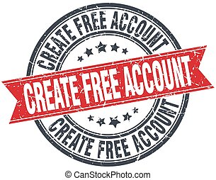 create free account red round grunge vintage ribbon stamp