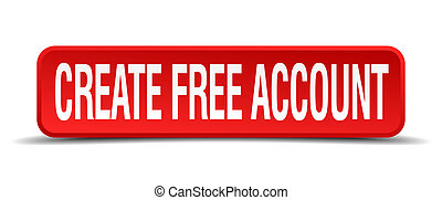create free account red three-dimensional square button isolated on white background