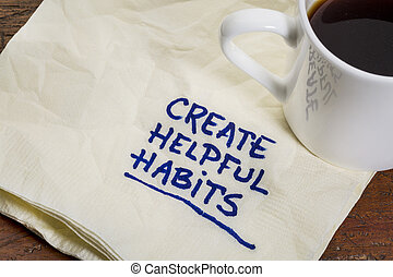 create helpful habits reminder or advice - handwriting on a...