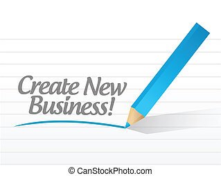 create new business written on a white paper. illustration...