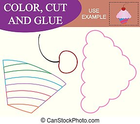Create the image of cupcake with cherry. Worksheet. Color, cut and glue. Game for children.