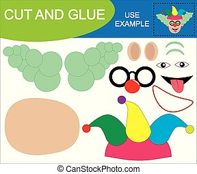 Create the image of face of clown using scissors and glue. Educational game for children.