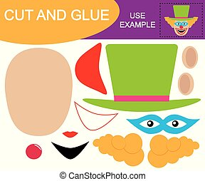 Create the Image of head of clown using scissors and glue. Game for children.