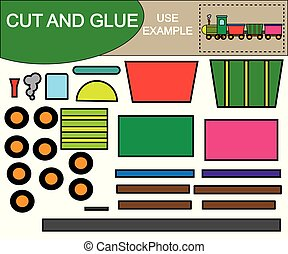 Create the image of train using scissors and glue. Kid's game. Vector illustration.
