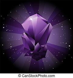 Create violet gemstone on sky space background